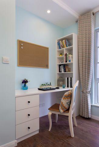 书房背景墙简欧风格装修图片