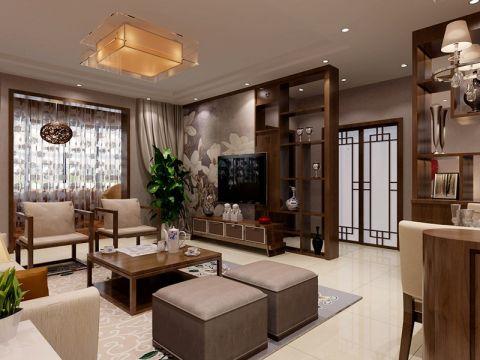 新中式风格142平米三房两厅新房装修效果图