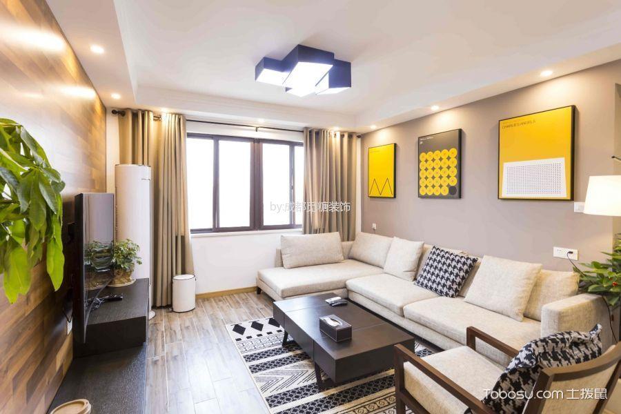 110平简约风格三居室装修实景图