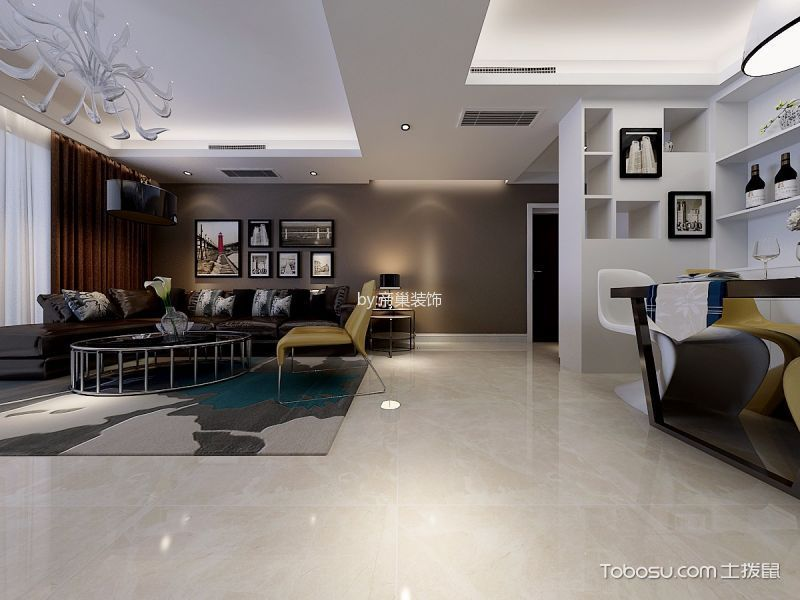 客厅咖啡色窗帘后现代风格装修效果图