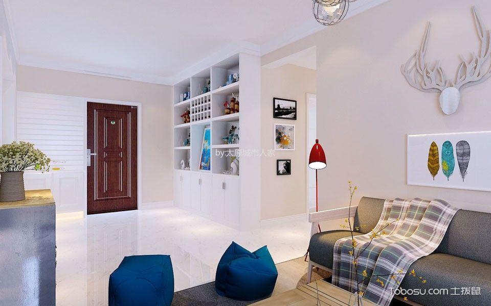 客厅 走廊_现代简约风格90平米2房2厅房子装饰效果图