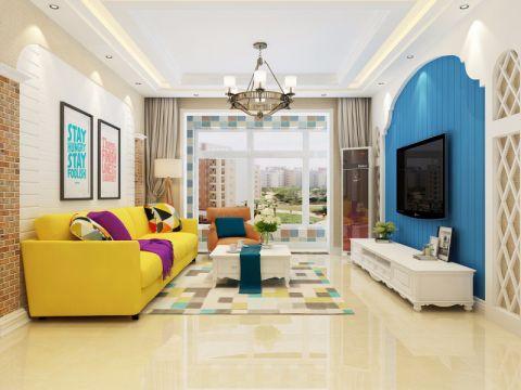 地中海风格120平米三房两厅新房装修效果图