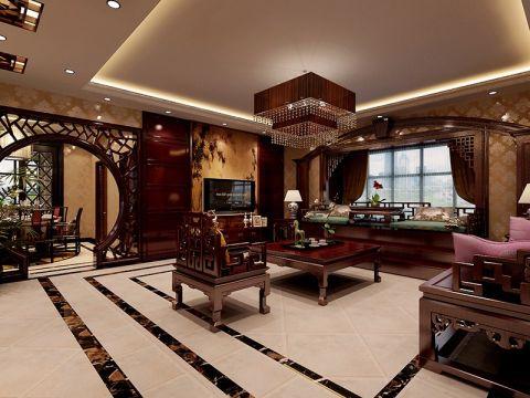 中式风格160平米四房两厅新房装修效果图