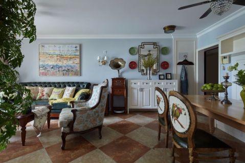 美式风格120平米两房两厅新房装修效果图