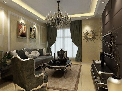 现代欧式风格100平米三室两厅室内装修效果图
