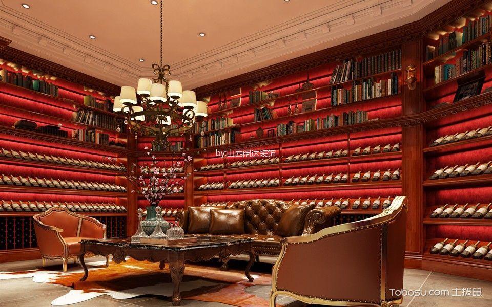 客厅红色博古架混搭风格装饰图片