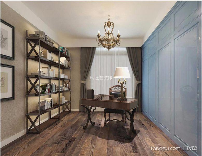 书房 窗帘_美式风格120平米三室两厅室内装修效果图