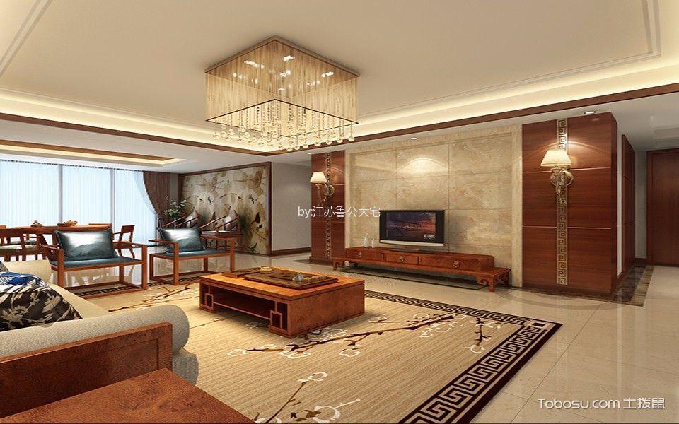 中式风格134平米三室两厅室内装修效果图