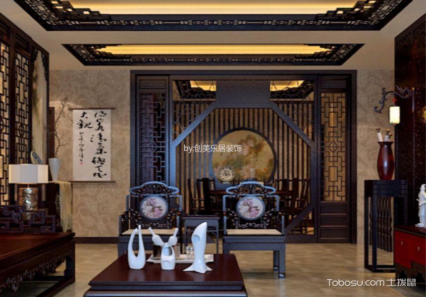 客厅黑色隔断中式风格装潢图片