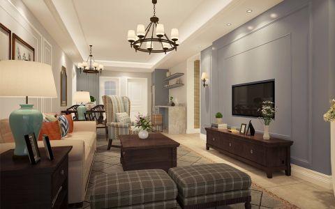 万达华府120平三室两厅简约美式风格效果图