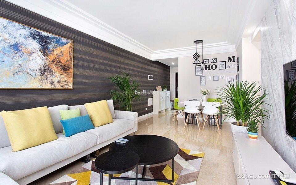 客厅白色沙发混搭风格装饰图片