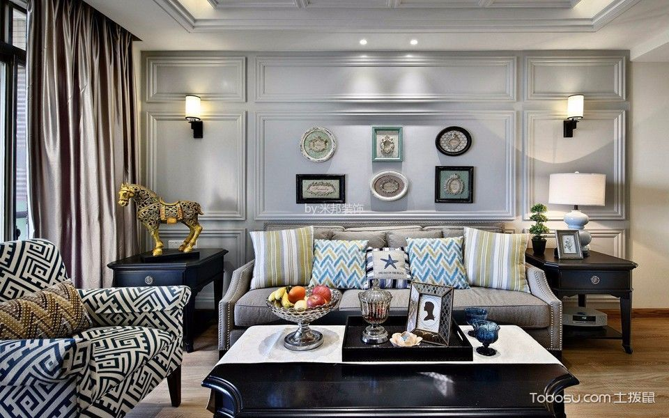 客厅 背景墙_美式风格140平米4房2厅房子装饰效果图