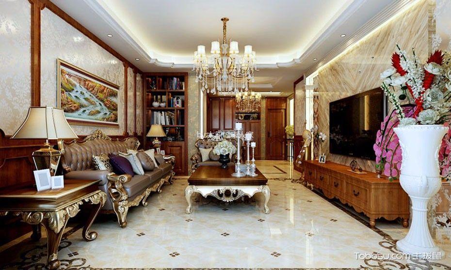 欧式风格150平米三房两厅新房装修效果图