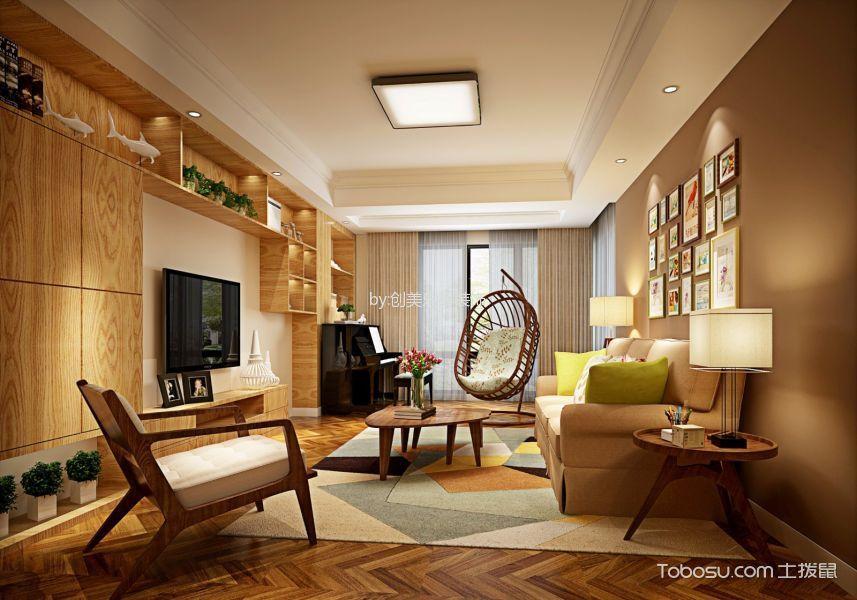 鸿鹏福邸80平米中式田园风格二居室效果图