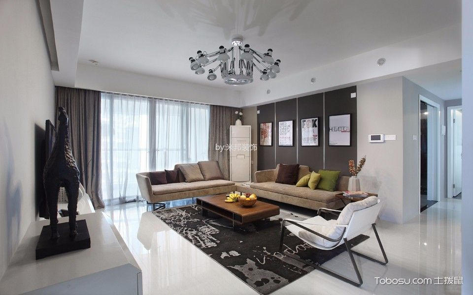 现代简约风格140平米4房2厅房子装饰效果图