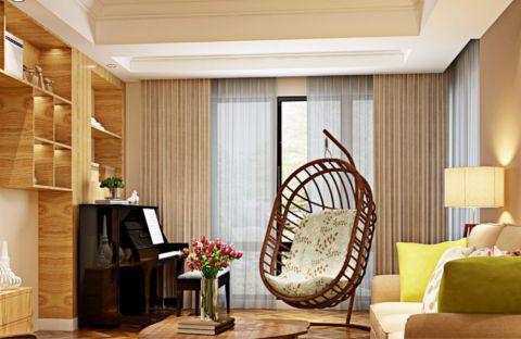 客厅窗帘田园风格装潢图片
