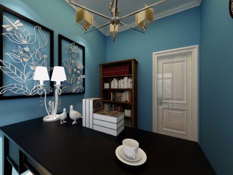 书房背景墙美式风格效果图