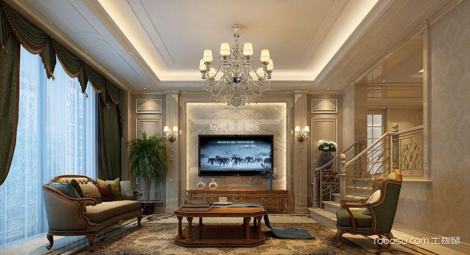客厅 吊顶_美式风格250平米大户型房子装饰效果图