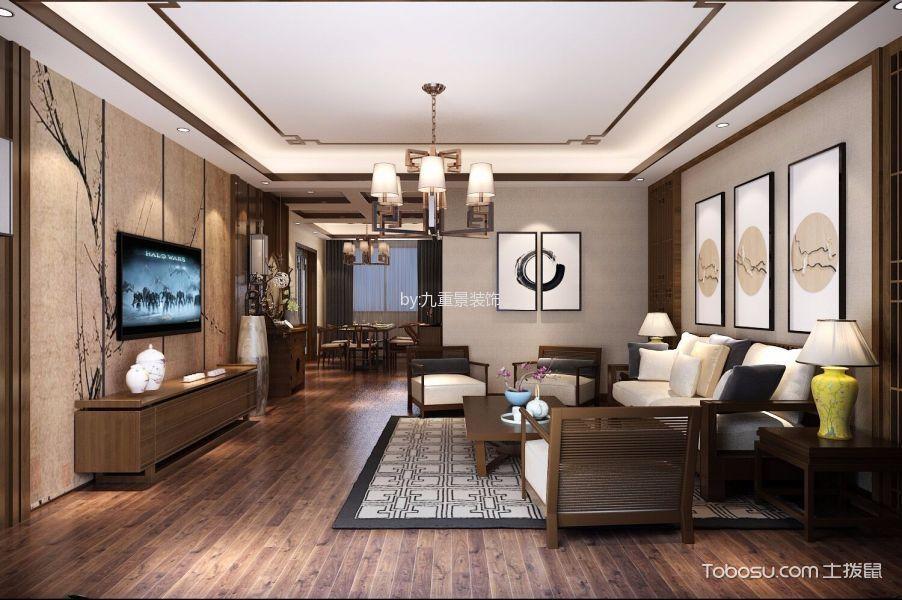 香樟雅苑新中式风格三居室效果图