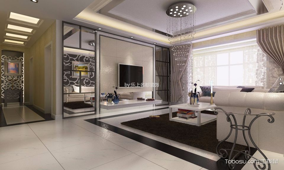 简约风格100平米2房2厅房子装饰效果图