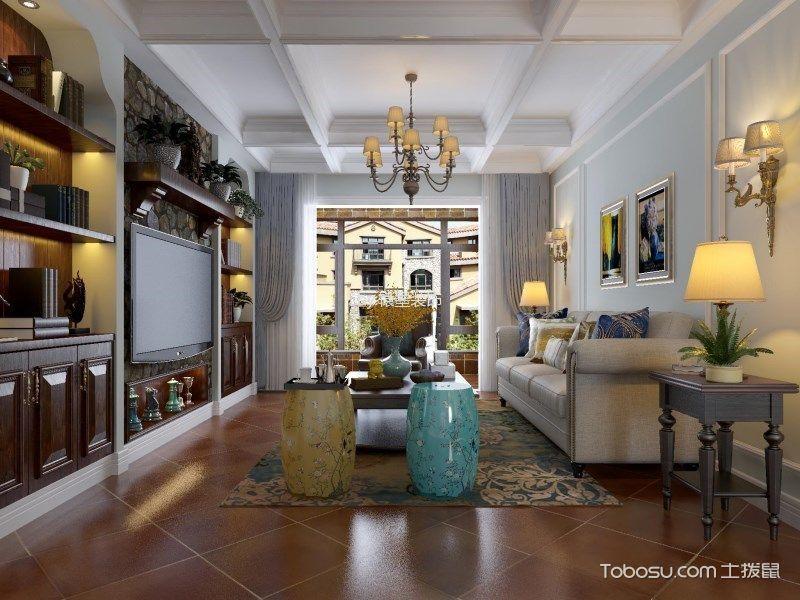 美式风格110平米三居室房子装修效果图