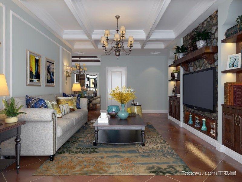 客厅 背景墙_美式风格110平米三居室房子装修效果图