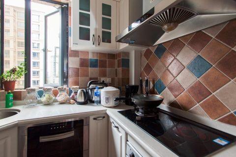 厨房背景墙欧式田园风格装修图片