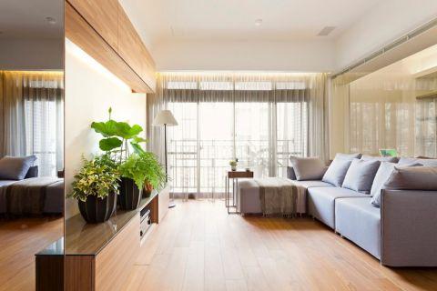 滨湖世纪城原木现代三居室效果图