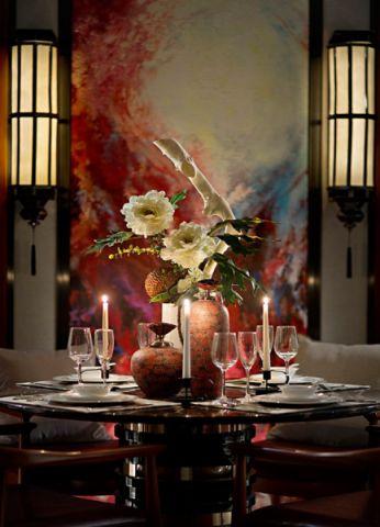 餐厅背景墙中式风格装饰设计图片