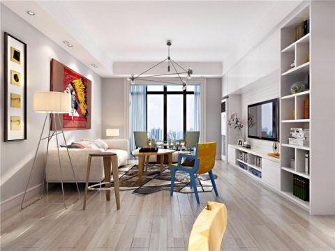 客厅窗帘北欧风格装潢图片