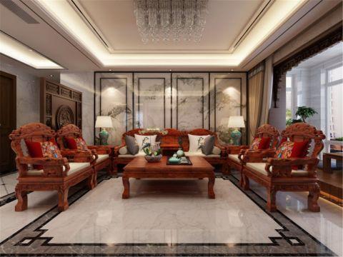 中式风格185平米三房两厅新房装修效果图