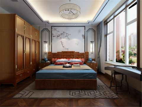 卧室飘窗中式风格装潢设计图片