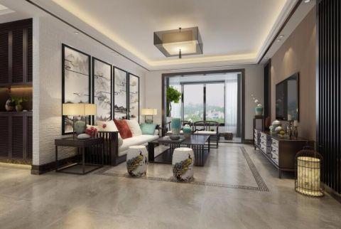 中式风格110平米三居室房子装修效果图
