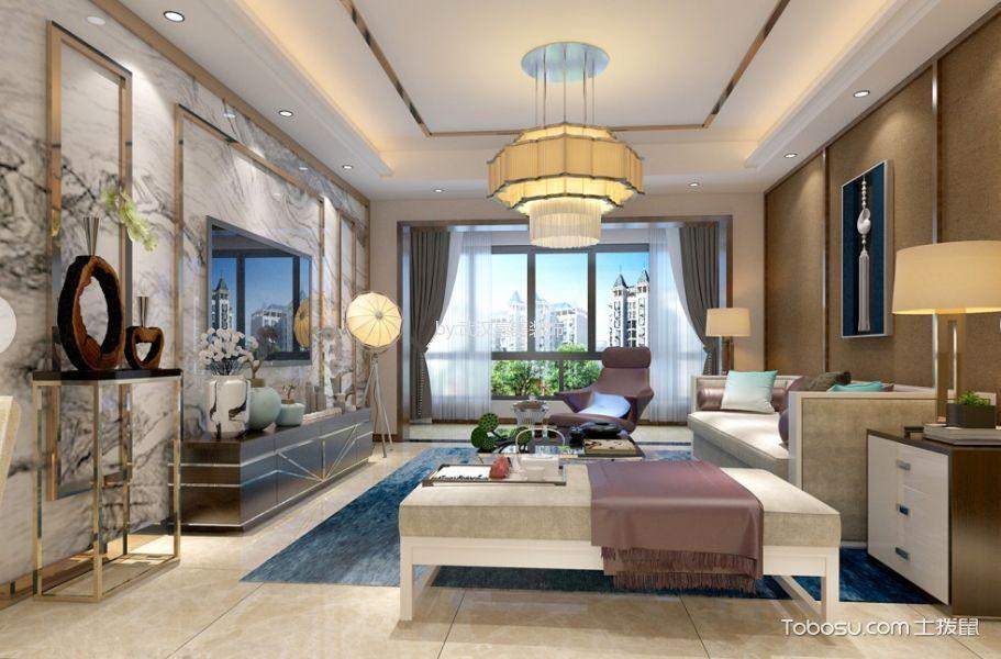 新中式风格70平米一居室房子装修效果图