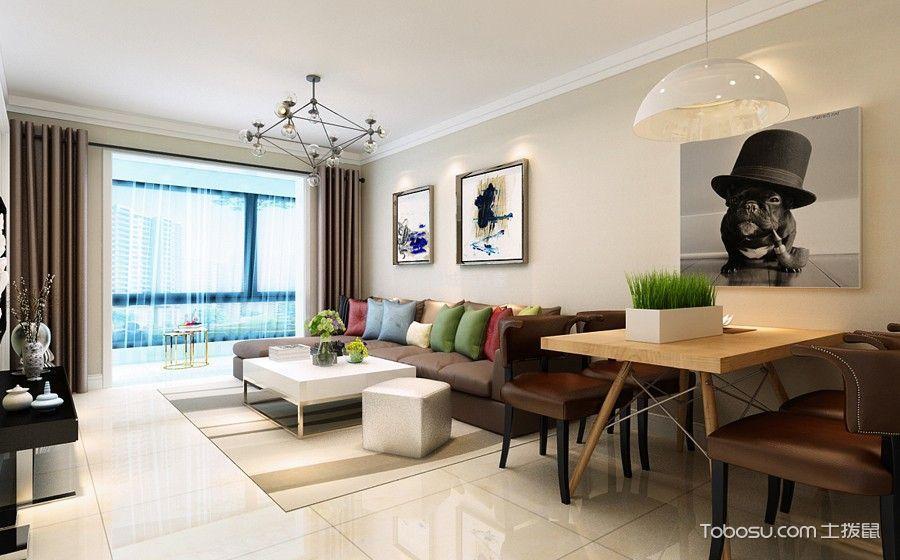 现代简约风格90平米三居室房子装修效果图