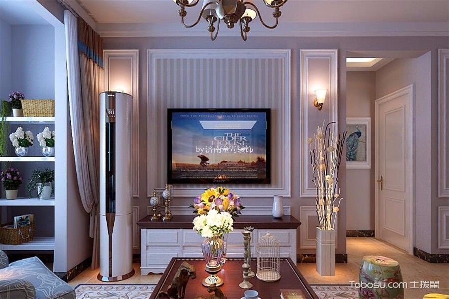 客厅 背景墙_现代简约风格110平米楼房装修效果图