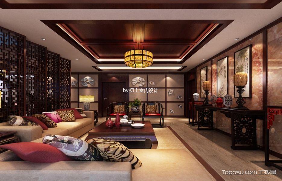 客厅 隔断_中式风格220平米复式房子装修效果图