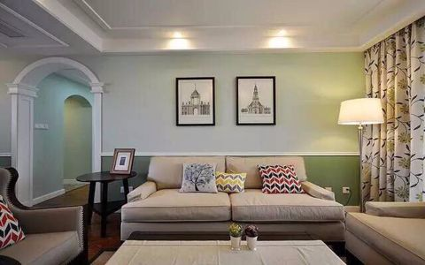 美式风格110平米二居室房子装修效果图