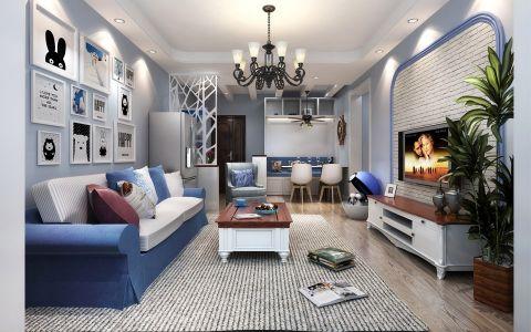 地中海风格90平米二居室房子装修效果图