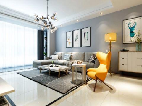 佳源巴黎都市三居室现代风格效果图