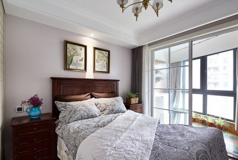 卧室推拉门美式风格装潢图片