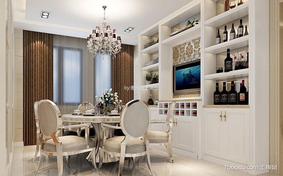餐厅白色背景墙现代中式风格装潢图片