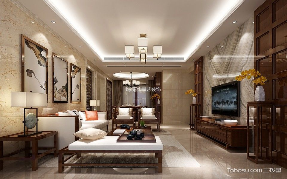 惠州御水豪庭158平米新中式风格效果图