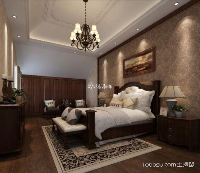 卧室 吊顶_美式风格160平米四居室房子装修效果图