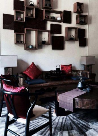 客厅博古架中式风格装潢图片