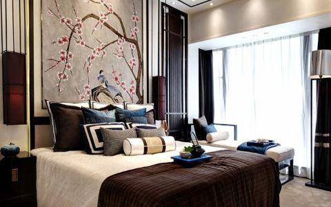 卧室窗帘现代中式风格装修图片