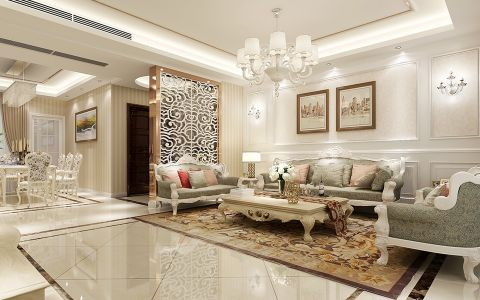 简欧风格220平米三居室房子装修效果图