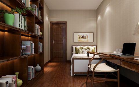 书房背景墙新中式风格装潢设计图片
