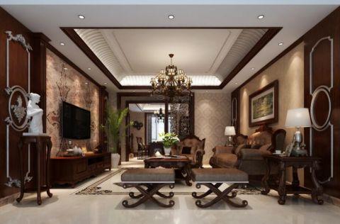 美式风格160平米四居室房子装修效果图