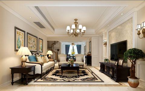 美式风格220平米复式房子装修效果图